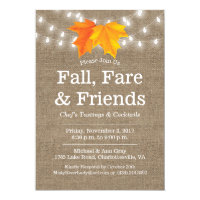 Fall, Fare & Friends Leaves & String Lights Burlap Invitation