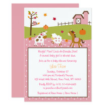 Fall Farm Animal Baby Shower Card