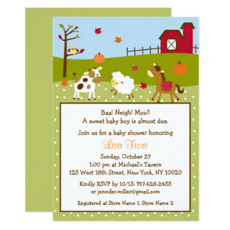 Fall Farm Animal Pumpkin Baby Shower Card