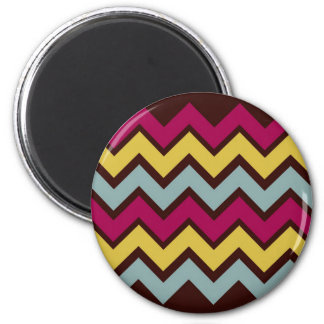 Fall Fashion Chevron Pattern 2 Inch Round Magnet