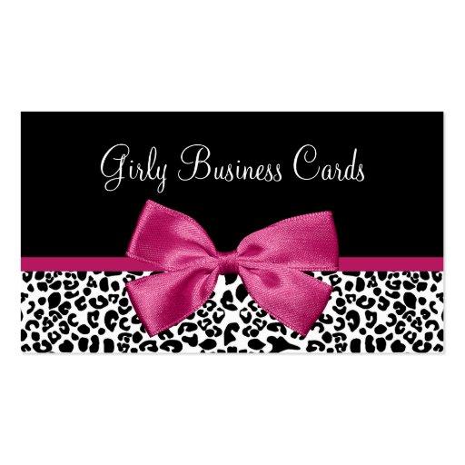 Fall Fashion Leopard Print Vivacious Pink Ribbon Business Card Template