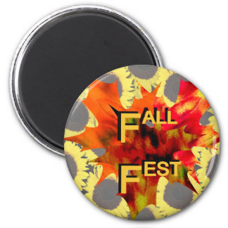 Fall Fest Leaf and sunflower graphic Magnets