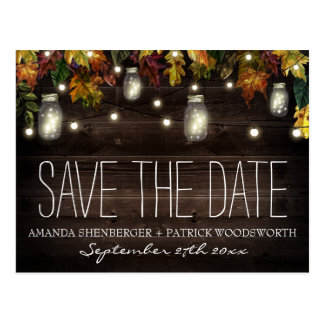 Fall Firefly Mason Jar Wedding Save the Date Cards