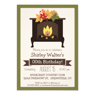 Fall Fireplace, Autumn Colors Adult Birthday Party Card