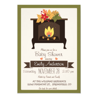 Fall Fireplace, Autumn Colors Baby Shower Invite