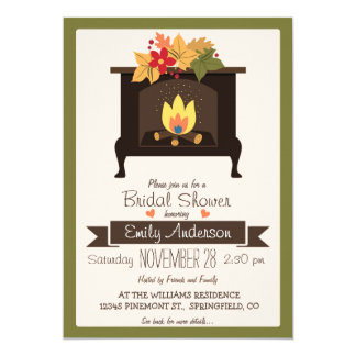 Fall Fireplace, Autumn Colors Bridal Shower Card