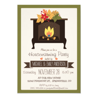 Fall Fireplace, Autumn Colors Housewarming Party Card