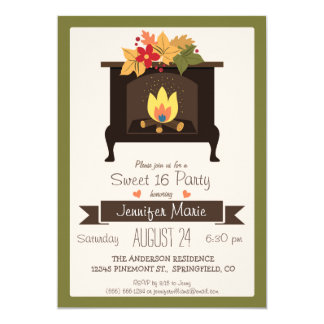 Fall Fireplace, Autumn Colors Sweet 16 Party Card