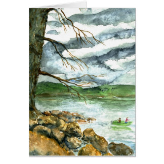Fall Fishing - watercolor Card