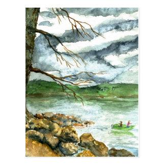 Fall Fishing - watercolor Postcard
