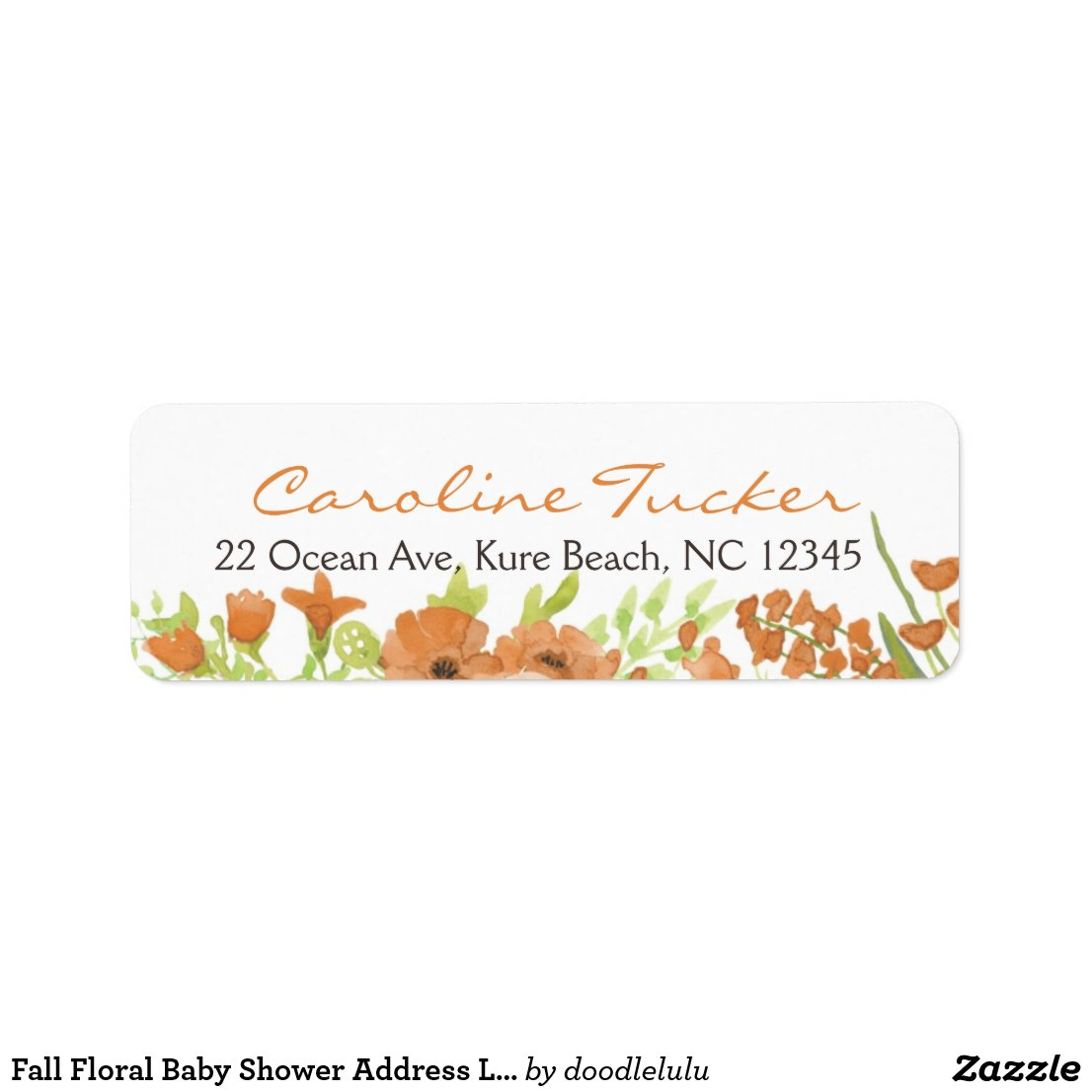 Fall Floral Baby Shower Address Label