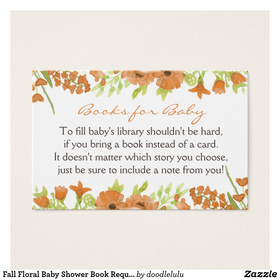 Fall Floral Baby Shower Book Request Card