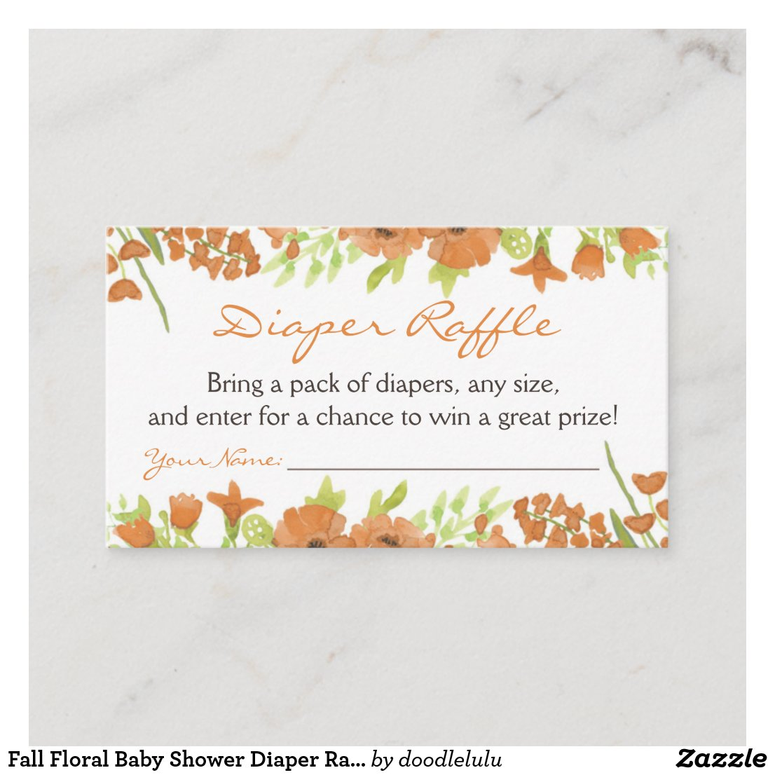 Fall Floral Baby Shower Diaper Raffle Ticket Enclosure Card