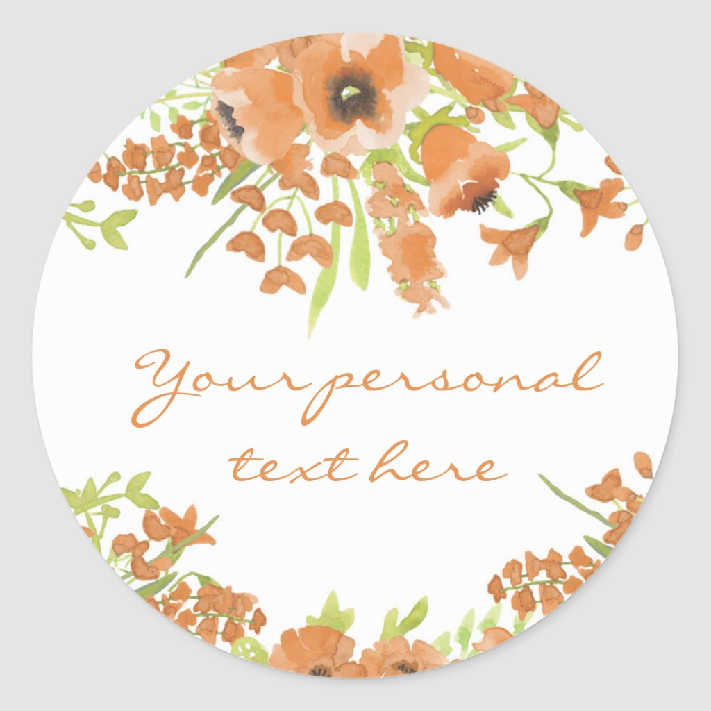 Fall Floral Baby Shower Round Sticker
