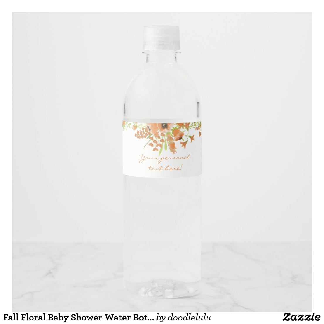 Fall Floral Baby Shower Water Bottle Label