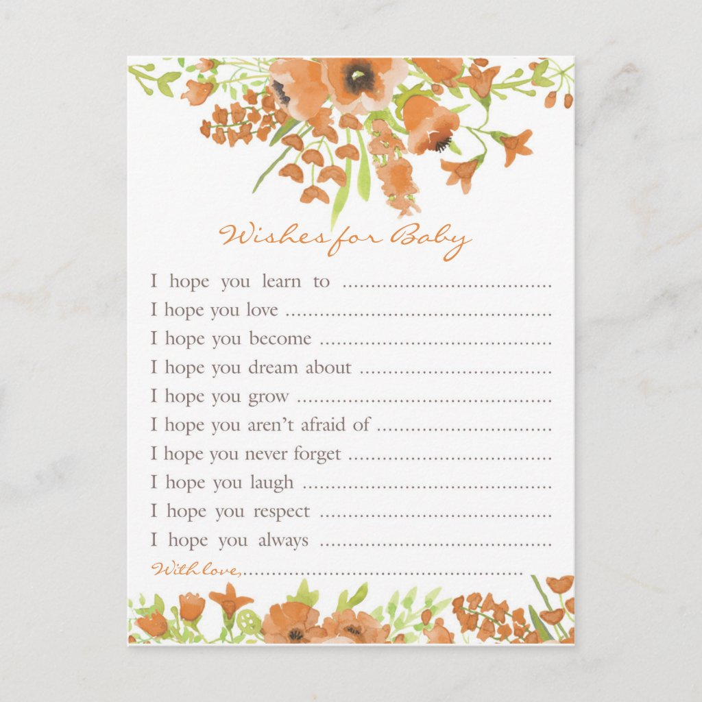 Fall Floral Baby Shower Wishes for Baby Invitation Postcard