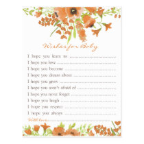 Fall Floral Baby Shower Wishes for Baby Postcard