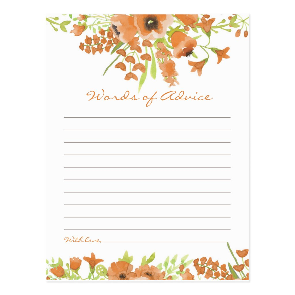 Fall Floral Baby Shower Words of Advice Postcard