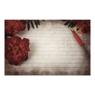 Fall Floral Background with Pen and Lined Paper