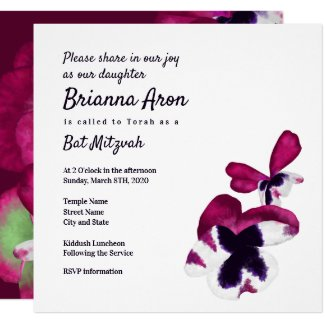 Fall Floral Bat Mitzvah Invitation