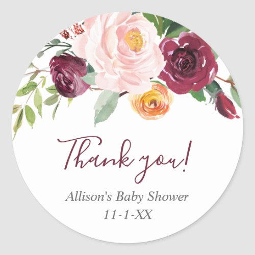 Fall floral blush pink burgundy favor thank you classic round sticker