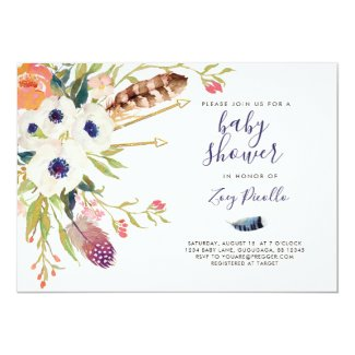 Fall Floral Boho Baby Shower Invitation