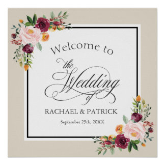 Fall Floral Border Wedding Welcome Signage Poster