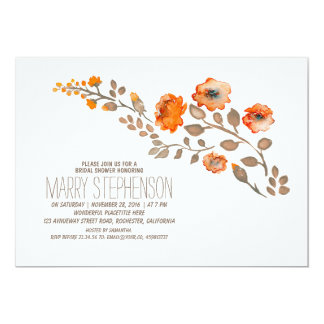 fall floral bridal shower card