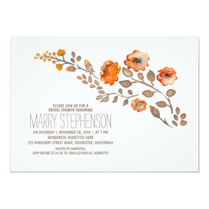 Fall Floral Bridal Shower Card