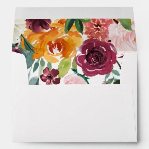 Fall floral burgundy floral envelopes 5x7 card