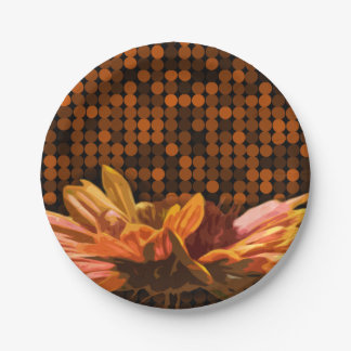 Fall Floral Colors Autumn Rustic Design Flowers Paper Plate