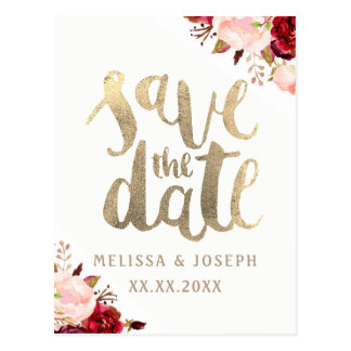 fall floral FAUX gold foil save the date Postcard