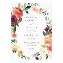 Fall Floral Frame Autumn Wedding Invitation