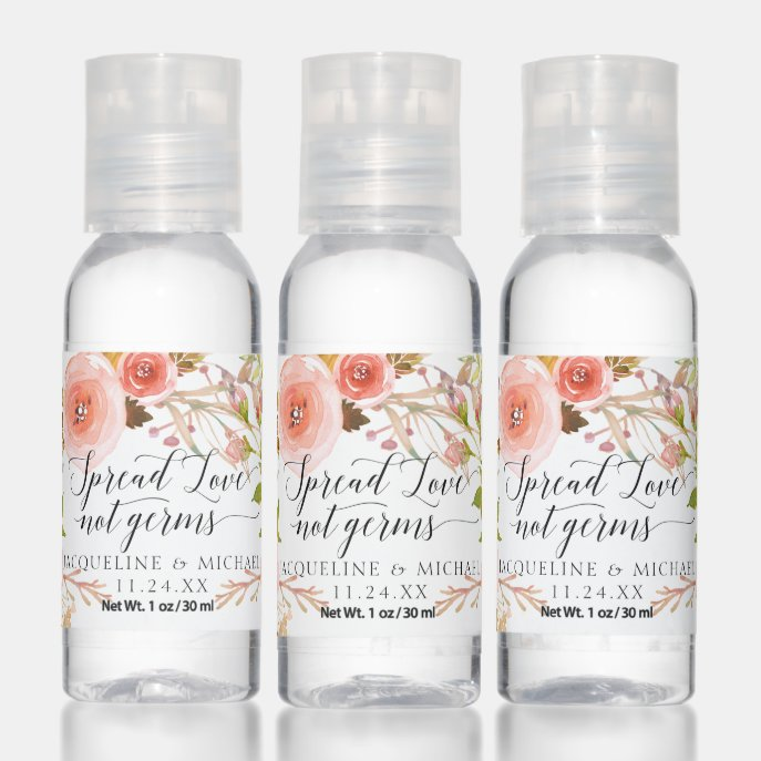 Fall Floral Gold Pink Peach Rose Script Wedding Hand Sanitizer