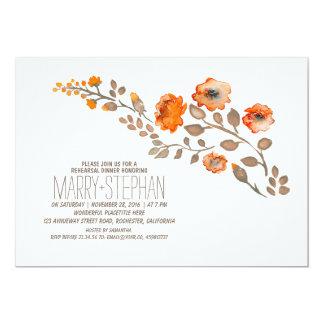 fall floral rehearsal dinner card