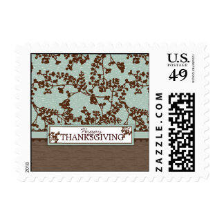 Fall Floral Stems in Vintage Blue and Brown Postage Stamp