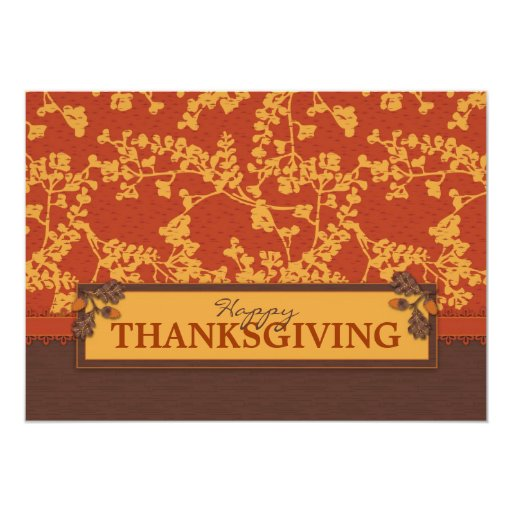 Fall Floral Stems in Warm Autumn Color Personalized Invites
