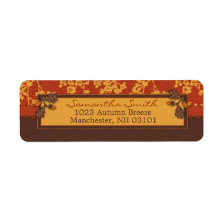 Fall Floral Stems in Warm Autumn Color Custom Return Address Labels