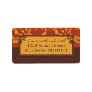 Fall Floral Stems in Warm Autumn Color Label