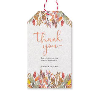 Fall floral thank you favour tags