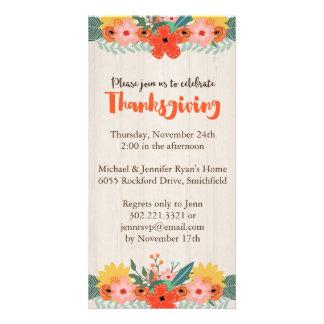 Fall Floral Thanksgiving Invitation
