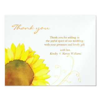 Fall Floral Wedding Favor Thank You Flat Cards Announcements