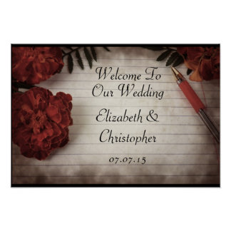 Fall Floral Welcome To Our Wedding Poster