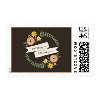 Fall Floral Wreath & Banner Wedding Postage