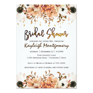 Fall Flowers and Falling Leaves Bridal Shower Card