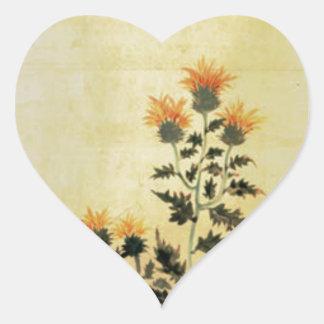 Fall Flowers Heart Sticker