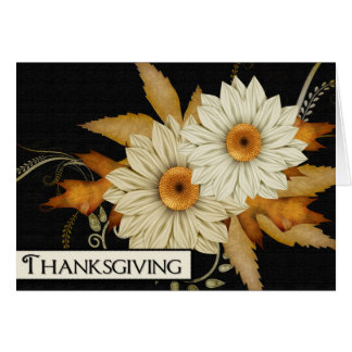 Fall Flowers & Leaves Design :: Thanksgiving Card