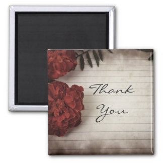 Fall Flowers on Lined Paper Thank You Magnet