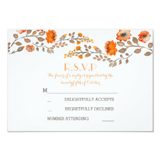 fall flowers watercolor painted wedding RSVP cards