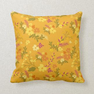 "Fall, Flowery, Cotton Throw Pillow 16"" x 16"""